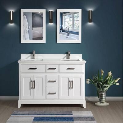 Genoa 72 in. W x 22 in. D x 36 in. H Bath Vanity in White with Vanity Top in White with White Basin and Mirror