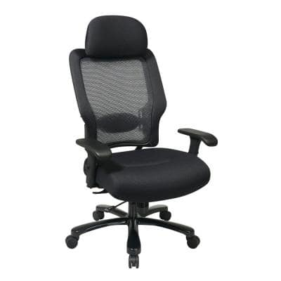 63 Series 28.9 in. Width Big and Tall Black Fabric Ergonomic Chair with Adjustable Height