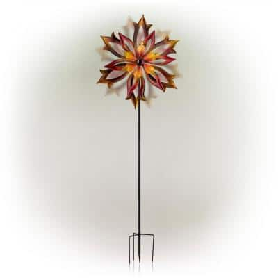 96 in. Tall Outdoor Metal Flower Dual Kinetic Spinner Stake Yard Decoration, Red/Yellow