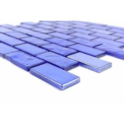 Landscape Mediterranean Blue Linear Mosaic 1 in. x 2 in. Textured Glossy Glass Pool Tile (9 sq. ft./Case)