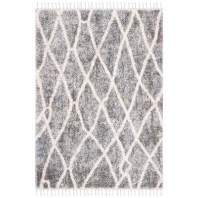 Berber Fringe Shag Dark Gray/Cream 8 ft. x 10 ft. Geometric Area Rug