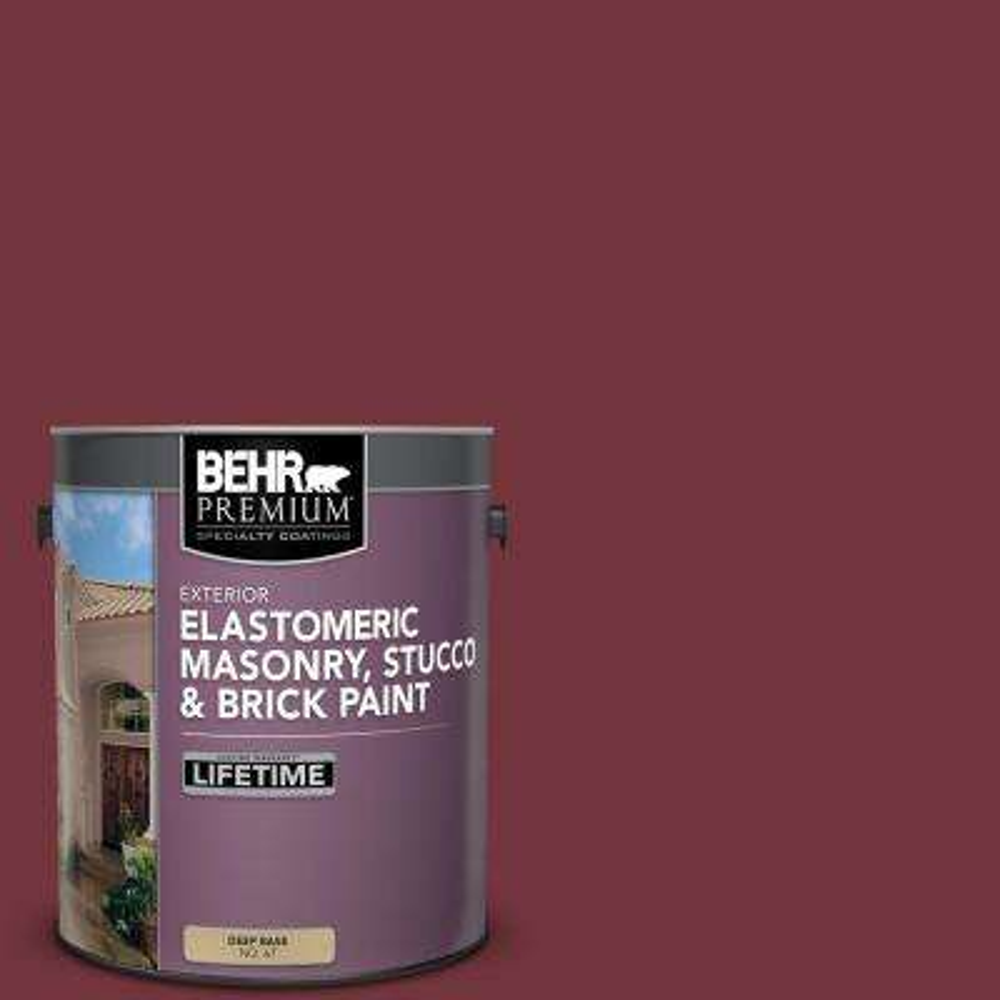 1 gal. #S130-7 Cherry Cola Elastomeric Masonry, Stucco and Brick Exterior Paint