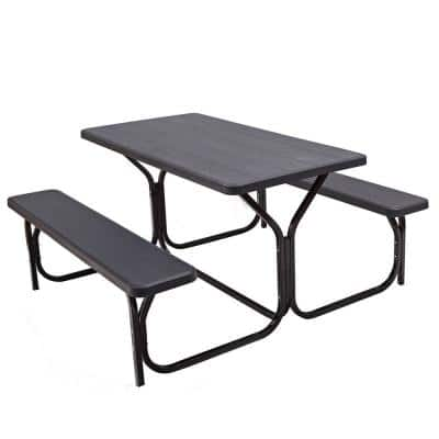 Black Rectangular Plastic Outdoor Picnic Table with 2 Bench