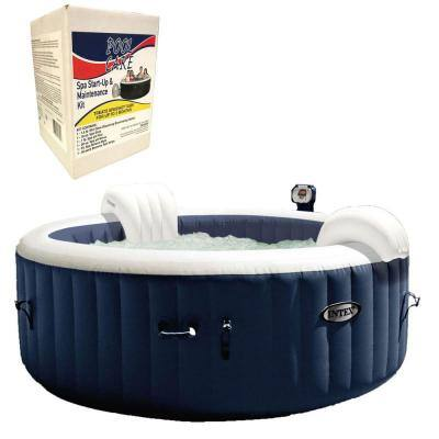 Intex Pure Spa 4-Person Inflatable Hot Tub and Qualco 3 Month Spa Maintenance Kit