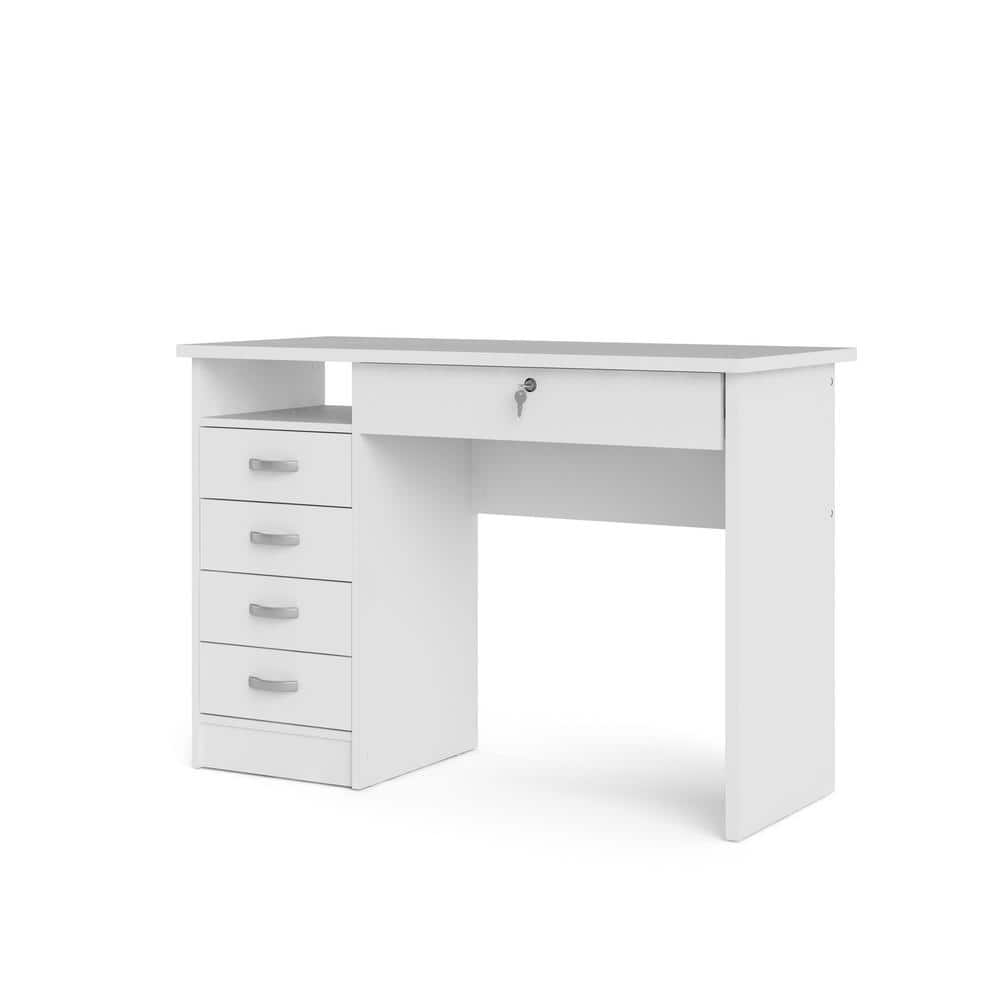 43 in. Rectangular White 5 Drawer Writing Desk with Locking Feature