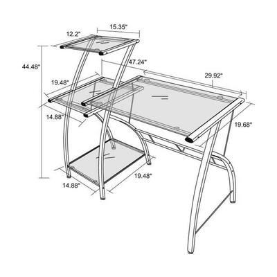 47 in. Rectangular Black/Silver Computer Desk