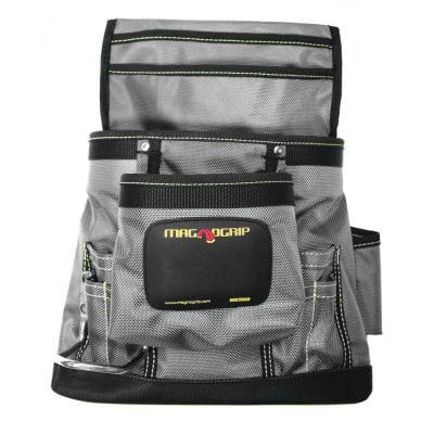 11 in. 10-Pocket Platinum Magnetic Tool Pouch with Belt