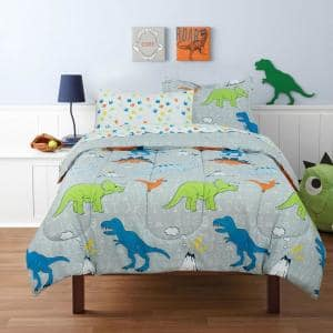 Dinosaur Walk Volcano Grey Twin Size Bed in a Bag with Reversible Comforter