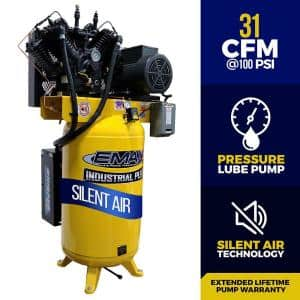 Industrial PLUS 80 Gal. 7.5 HP 1-Phase Silent Air Electric Air Compressor with pressure lubricated pump