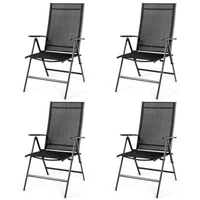 4-Pieces Black Adjustable Steel Patio Folding Dining Chair Recliner