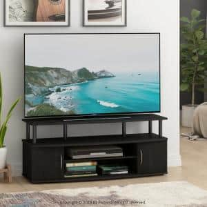 JAYA 47 in. Blackwood Particle Board TV Stand Fits TVs Up to 50 in. with Cable Management