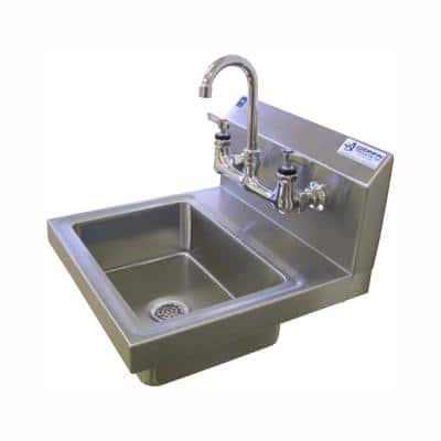 17 in. Wall Mount Stainless Steel 1 Compartment Commercial Hand Wash Sink