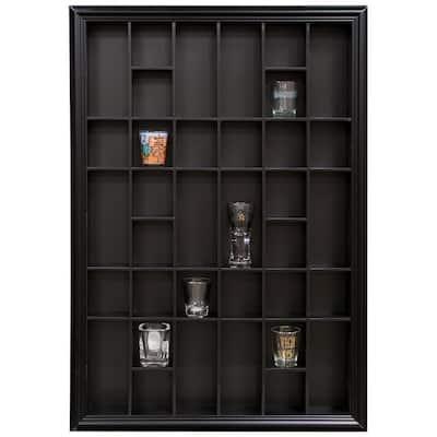 Gallery Solutions 26.2 in. W x 2.7 in. D Black Shot Glass Decorative Shelf
