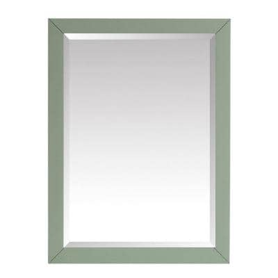 24 in. W x 32 in. H Framed Rectangular Beveled Edge Bathroom Vanity Mirror in Sea Green finish