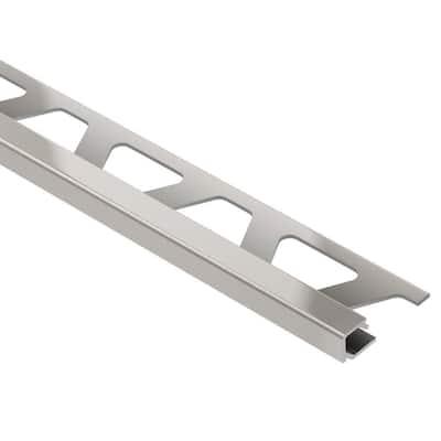 Quadec Satin Nickel Anodized Aluminum 3/8 in. x 8 ft. 2-1/2 in. Metal Square Edge Tile Edging Trim