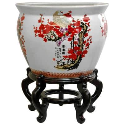 Oriental Furniture 16 in. Cherry Blossom Porcelain Fishbowl