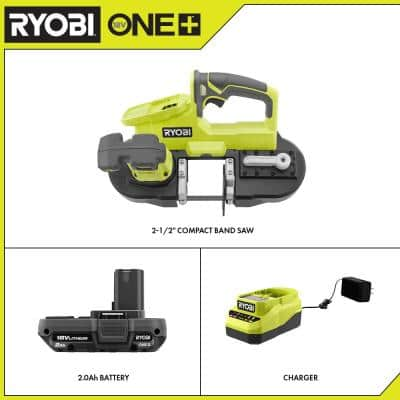 ONE+ 18V Cordless 2-1/2 in. Compact Band Saw with 2.0 Ah Battery and Charger