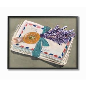 16 in. x 20 in. ''Painted Letters Sent with a Ribbon and Lavender'' by Cindy Willingham Framed Wall Art