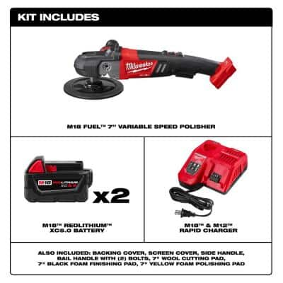 M18 FUEL 18-Volt Lithium-Ion Brushless Cordless 7 in. Polisher Variable Speed Kit W/ Pads & (2) 5.0Ah Batteries