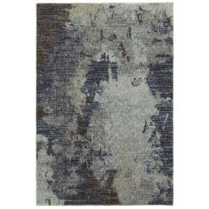 Everette Navy/Blue 5 ft. x 7 ft. Casual Abstract Area Rug