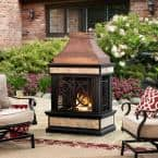 Curtis 56.69 in. Wood Burning Outdoor Fireplace with Bronze Highlights