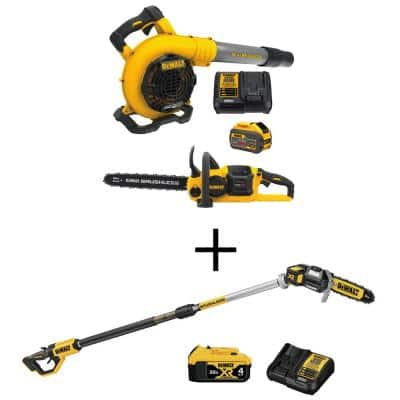 60V MAX Cordless FLEXVOLT Chainsaw with Blower Combo Kit (2-Tool) with 8 in. 20V MAX Lithium-Ion Cordless Pole Saw Kit