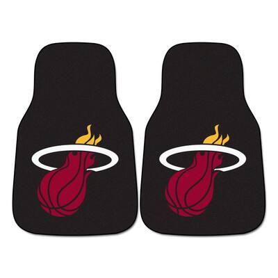 Miami Heat 18 in. x 27 in. 2-Piece Carpeted Car Mat Set