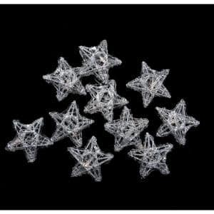 10-Light Battery Operated Clear LED Spun Glass Star Christmas Lights - Silver Wire
