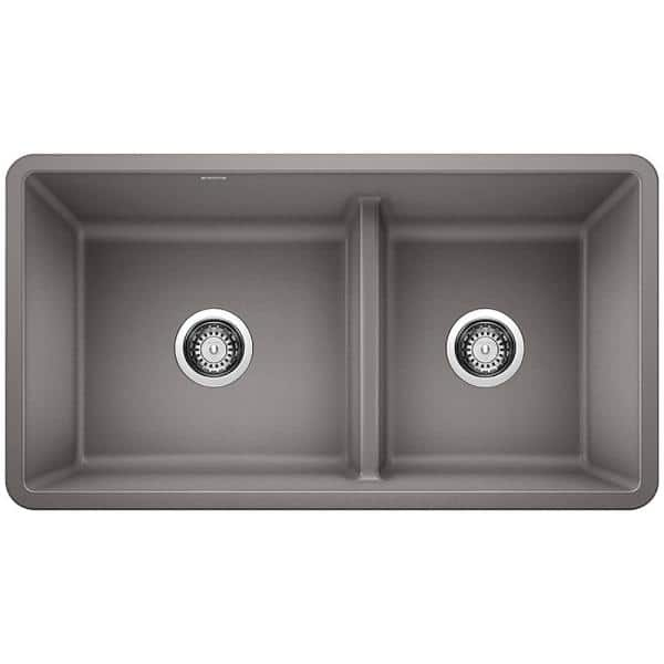 Blanco Precis Undermount Granite 33 In X 18 60 40 Double Bowl Kitchen Sink Metallic Gray 442527 The Home Depot