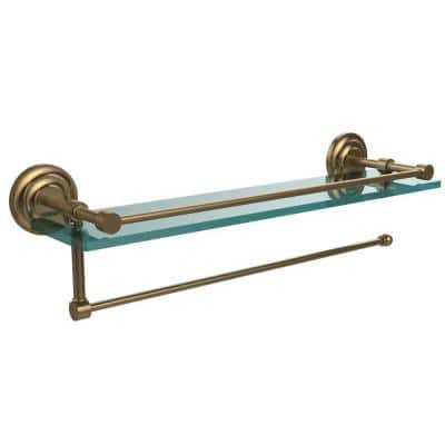 Prestige Que New 16 in. L x 5 in. H x 5 in. W Paper Towel Holder with Gallery Clear Glass Shelf in Brushed Bronze