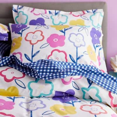 Flower Power Multicolored Graphic 200-Thread Count Organic Cotton Percale Standard Sham