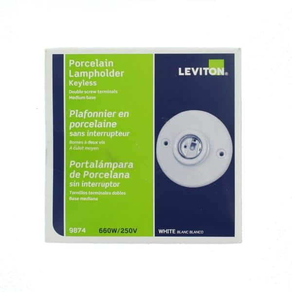 Leviton - 660 Wat Medium Base One-Piece Single Circuit Keyless Ceiling Mount Glazed Porcelain Incandescent Lampholder, White