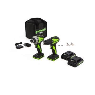 1/2 in. 24-Volt Battery Cordless Brushless Drill/Driver and Impact Driver, 2 Batteries and Charger