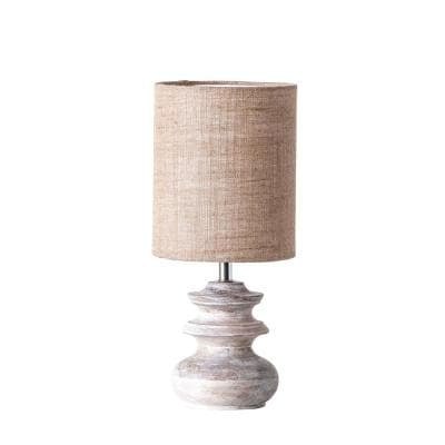 15.5 in. Small Bleached Brown Mango Wood Table Lamp with Jute Shade