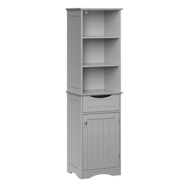 Riverridge Home Ashland 16 1 2 In W X 60 In H Bathroom Linen Storage Tower Cabinet In Gray 06 083 The Home Depot