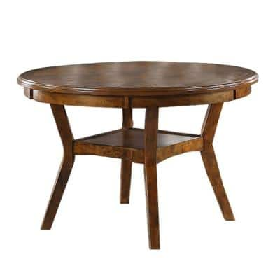 47 in. Walnut Brown Round Top Wooden Dining Table with Boomerang Legs