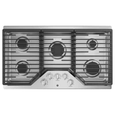 36 in. Built-In Gas Cooktop in Stainless Steel with 5 Burners Including Power Boil Burner
