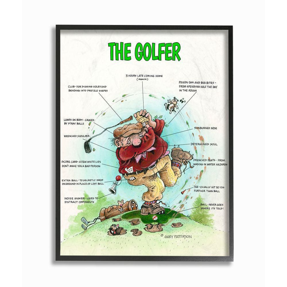 Stupell Industries The Golfer Funny Golf Cartoon By Gary Patterson Framed Sports Wall Art 30 In X 24 In Fda 187 Fr 24x30 The Home Depot