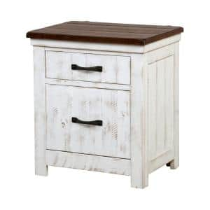 Willow Crest Distressed White and Walnut 2-Drawer Nightstand 27.38 in. H x 24 in. W x 17.5 in. D with USB Plug