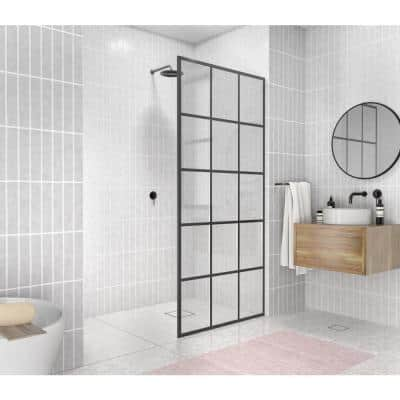 French Monture Noir 36 in. W x 78 in. H Fixed Single Panel Frameless Shower Door in Matte Black with Clear Glass