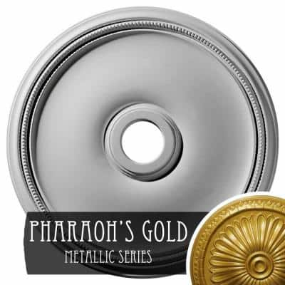 1-3/4 in. x 24 in. x 24 in. Polyurethane Theia Ceiling Moulding, Pharaoh's Gold