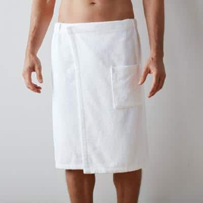 Company Cotton Men's Small/Medium White Bath Wrap