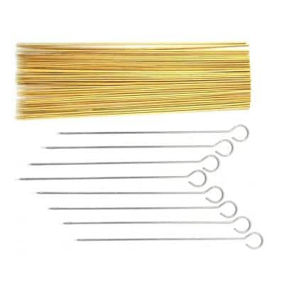 Stainless Steel and Bamboo Barbecue Kabob Skewer Set