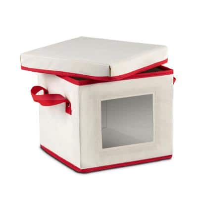 8 Qt. Ivory and Red Non-Woven Dinnerware Plate Storage Box with Lid and Window