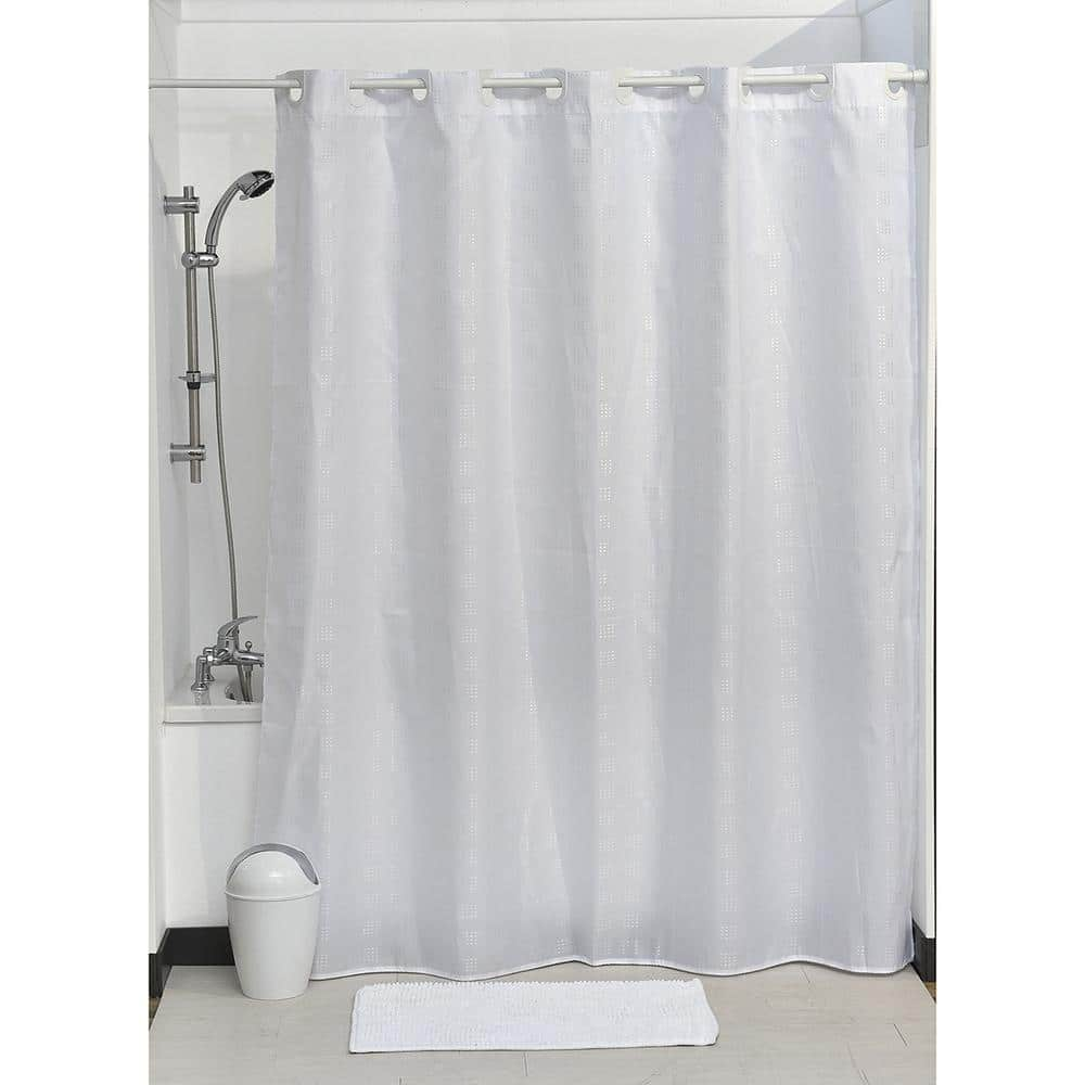 hookless shower curtain polyester cubic color matching hooks 71 in l x 79 in h 180 x 200 cm white 1207100 the home depot