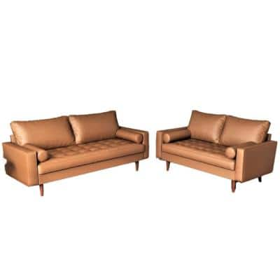 Lincoln Brown Tufted Seat 2-Piece Living Room Set