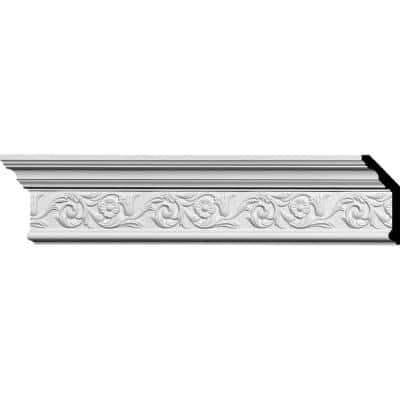 SAMPLE - 2-1/4 in. x 12 in. x 5-5/8 in. Polyurethane Floral Crown Moulding
