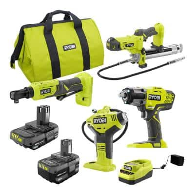 ONE+ 18V Cordless Automotive Combo Kit with (1) 1.5 Ah Battery, (1) 4.0 Ah Battery and Charger (4-Tool)