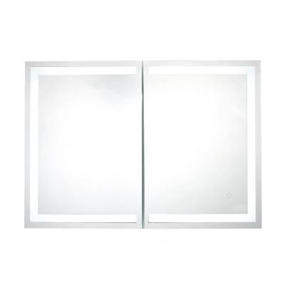 Edison 34 in. x 24 in. LED Surface-Mount Medicine Cabinet with Mirror with Bluetooth Speakers