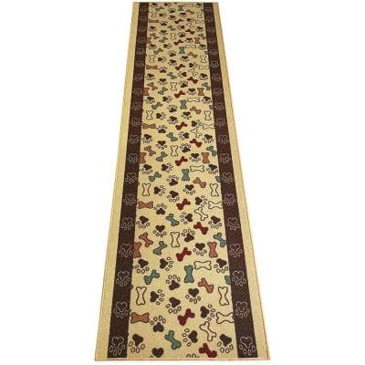 """Pet Collection Bones & Paws Cut to Size Beige 26 """" Width x Your Choice Length Custom Size Slip Resistant Stair Runner"""